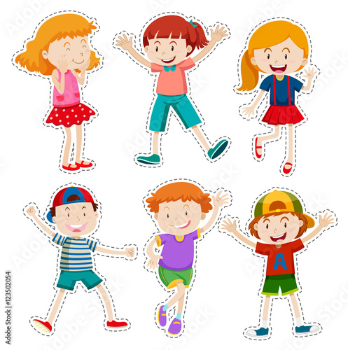 Photo Stands Indians Sticker set of happy boys and girls