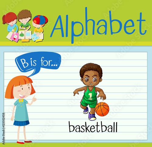 Fotografie, Obraz  Flashcard letter B is for basketball
