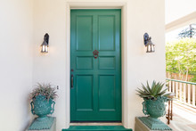 Green Entry Door With Door Kno...