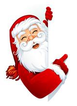 Cartoon Santa Claus Pointing A Blank Sign. Copy Space. Vector Illustration.