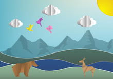 Abstract Vector Background With Paper Animals ; Vector Illustration