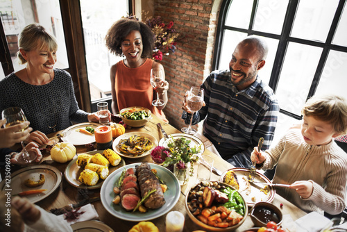 Fotografija People Celebrating Thanksgiving Holiday Tradition Concept