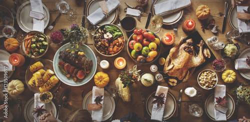 Thanksgiving Celebration Table Setting Concept Fototapeta