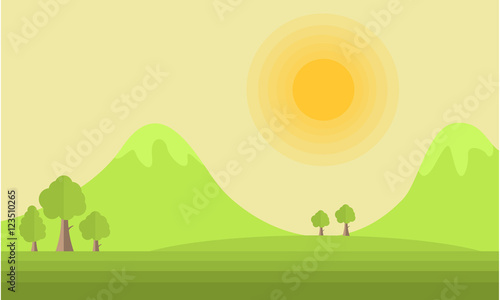 Poster Lime groen Mountain and sun landscape vector flat