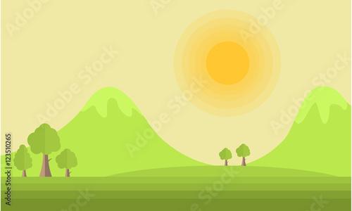 In de dag Lime groen Mountain and sun landscape vector flat