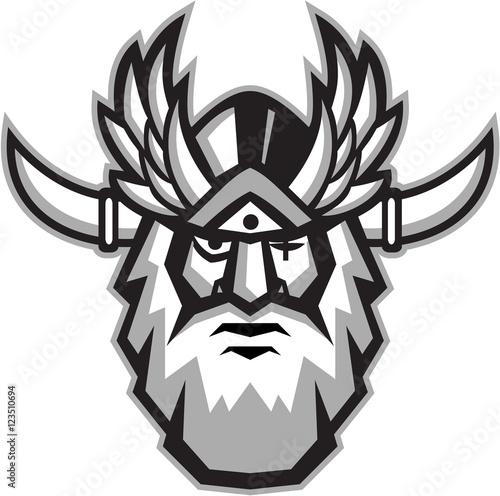 Photo  Norse God Odin Head Retro