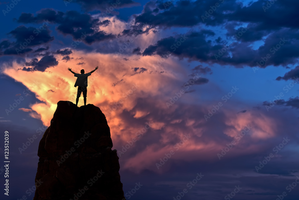Fototapety, obrazy: Man with arms raised in the sky winner success concept