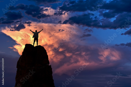 Fotografie, Tablou  Man with arms raised in the sky winner success concept
