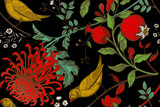 Seamless pattern with chrysantemums, pomegranates and birds. - 123515468