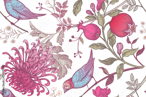 Cotton fabric Seamless pattern with chrysantemums, pomegranates and birds.