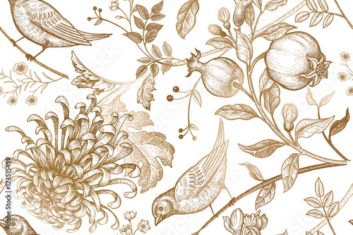 Seamless pattern with chrysantemums, pomegranates and birds.