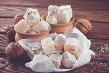 Turkish Delight Lokum Powdered With Coconut