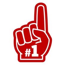 Number 1 One Sports Fan Foam Hand With Raising Forefinger Vector Icon