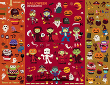 Vintage Halloween Poster Design Set With Vector Vampire, Witch, Mummy, Wolf Man, Ghost, Reaper, Pirate Character.