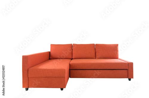 orange sofa furniture isolated on white background with ...