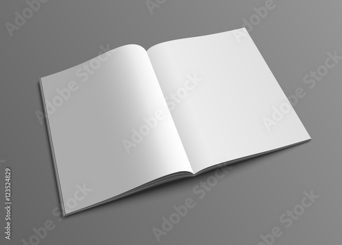 Fotografie, Obraz  Vector open magazine or brochure mockup template.