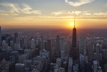 USA, Illinois, Aerial Photograph Of Downtown Chicago In The Early Evening