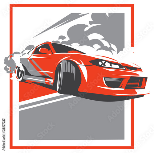Fotografie, Tablou Burnout car, Japanese drift sport, JDM,