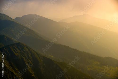 Fototapeta landscape sunset in the mountains of the Alps obraz na płótnie