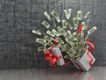 Monetary Concept. A Cash Gift Or Money. 3D Illustration.