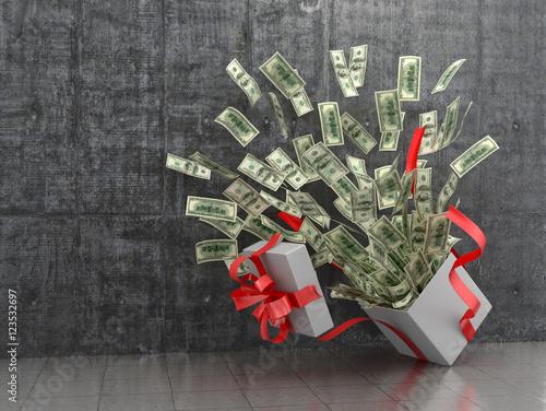 Fotografía  Monetary concept. A cash gift or money. 3D illustration.