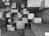 Fototapeta Do przedpokoju - Abstract architecture background with many concrete blocks