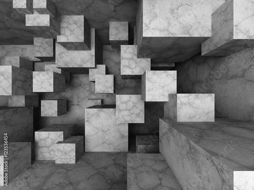 Fototapeta abstrakcyjne tło z betonowymi blokami 3D