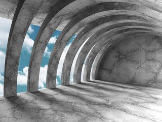 Fototapeta Concrete architecture background. Minimalistic empty room with c