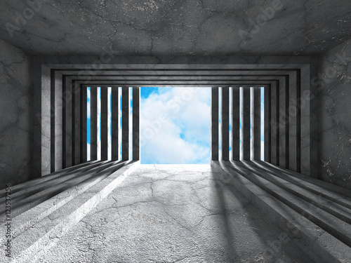 Empty concrete room with window to sky. Architecture background