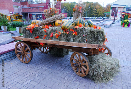 Garden Poster Bicycle The cart with hay and pumpkins