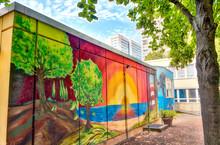 BERLIN - JULY 2016: Graffiti In Berlin. The City Is Famous For W