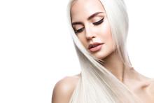 Beautiful Blond Girl In Move W...