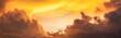 Leinwandbild Motiv golden sunset sunrise sky, panorama