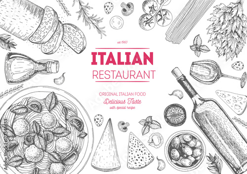 Italian cuisine top view frame Wallpaper Mural