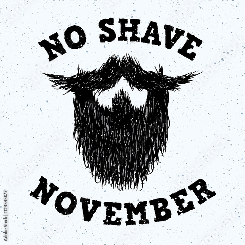 Beard silhouette with No Shave November lettering print Poster