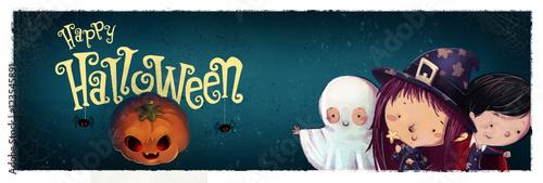 Fotografie, Obraz  niños en halloween