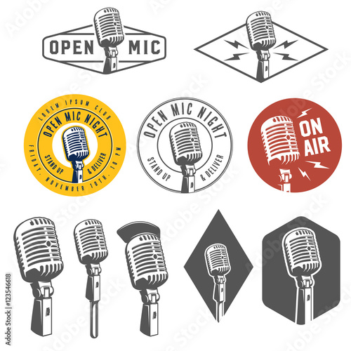 Slika na platnu Set of vintage retro microphone emblems, labels and design elements