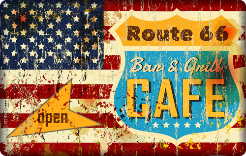 route 66 cafe sign, stars and stripes, retro style, grungy Poster