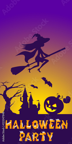 Spoed Foto op Canvas Violet Halloween illustration of mysterious night landscape with witch fly on broom and castle. Template for your design. Vector drawing.
