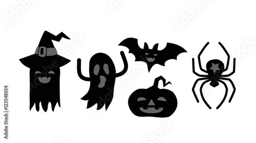 Fotobehang Draw Halloween Card with monsters, ghosts, spider, pumpkin and bat silhouette