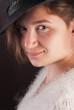 Closeup portrait of beautiful girl in hat ,