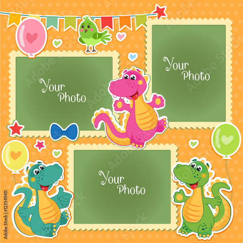 Photo Frames For Kids With Dinosaurs Decorative Template For Baby