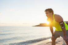 Spain, Mallorca, Jogger At The Beach At Sunrise