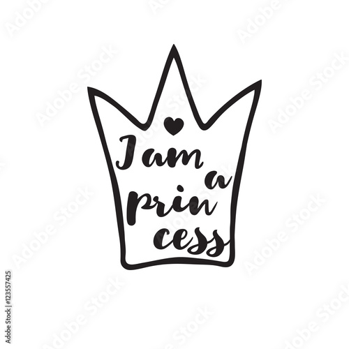 Fotografie, Tablou  Princess crown with an inscription in hand drawing style.
