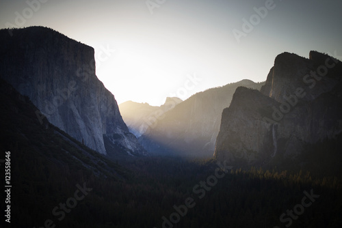 Scenic view of rock formation against clear sky during sunset