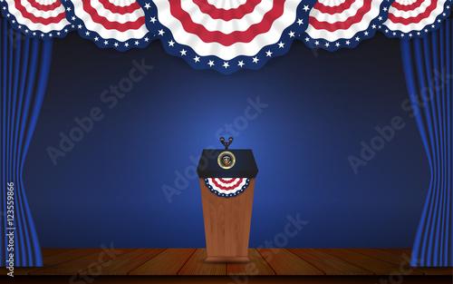 Obraz na płótnie USA President podium on stage with semi-circle decorative flag on top