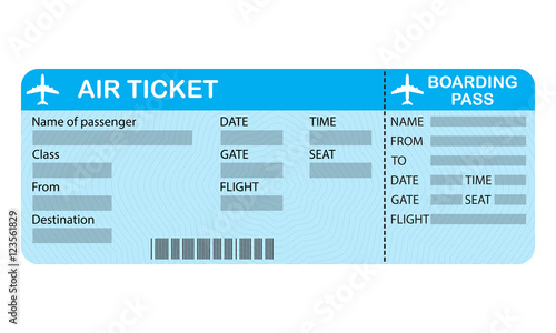 Plane Ticket Isolated On White Background Airline Boarding Pass