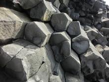 Hexagonal Basalt Columns Geological Rock Formation In Iceland