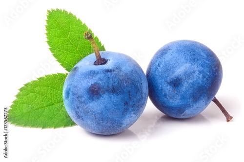 Photo  two fresh blackthorn berries with leaves isolated on white background