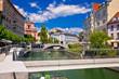 Ljubljana city center on green river